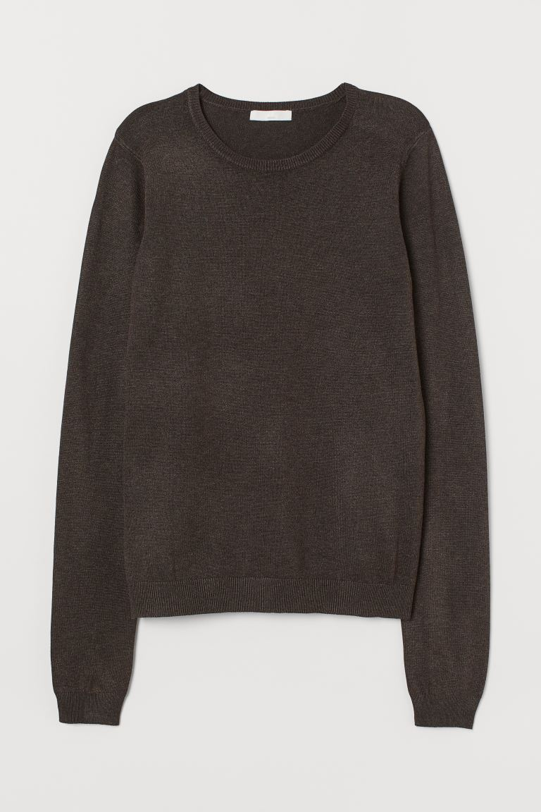Fine-knit jumper - Dark brown - Ladies | H&M GB