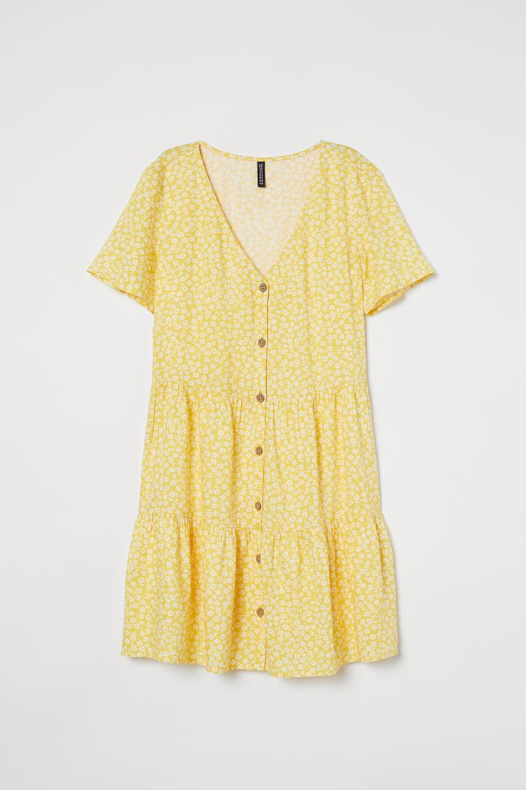 V-neck Dress - Light yellow/Floral - Ladies | H&M AU