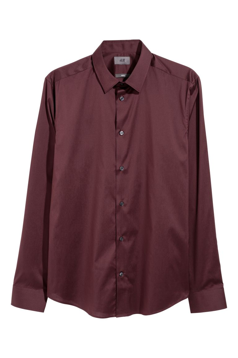 Camisa stretch Slim Fit - Bordeaux - HOMEM | H&M PT