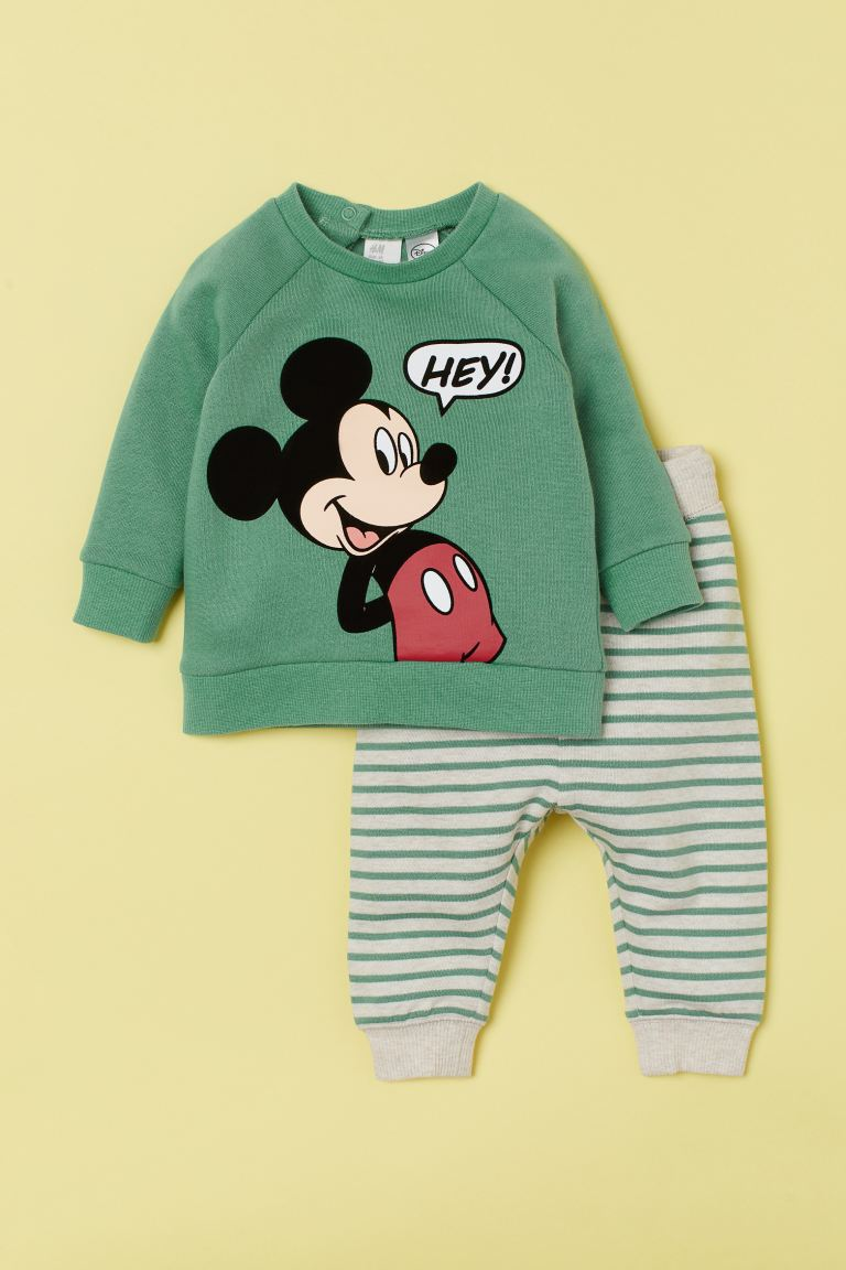 2-piece Set - Green/Mickey Mouse - Kids | H&M US