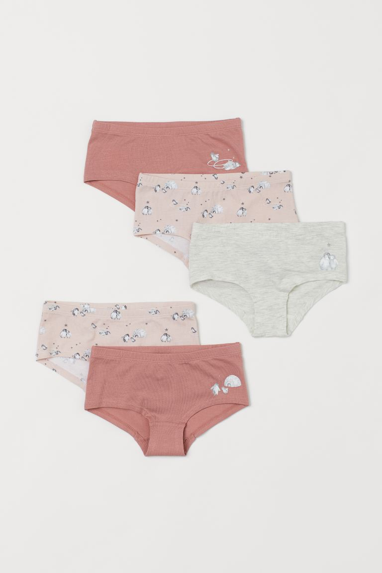 5-pack hipster briefs - Old rose/Penguins - Kids | H&M