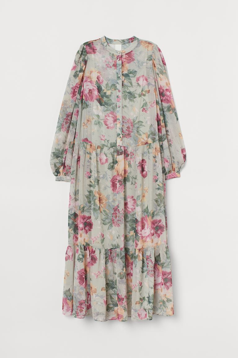 Puff-sleeved chiffon dress - Mint green/Roses - Ladies | H&M