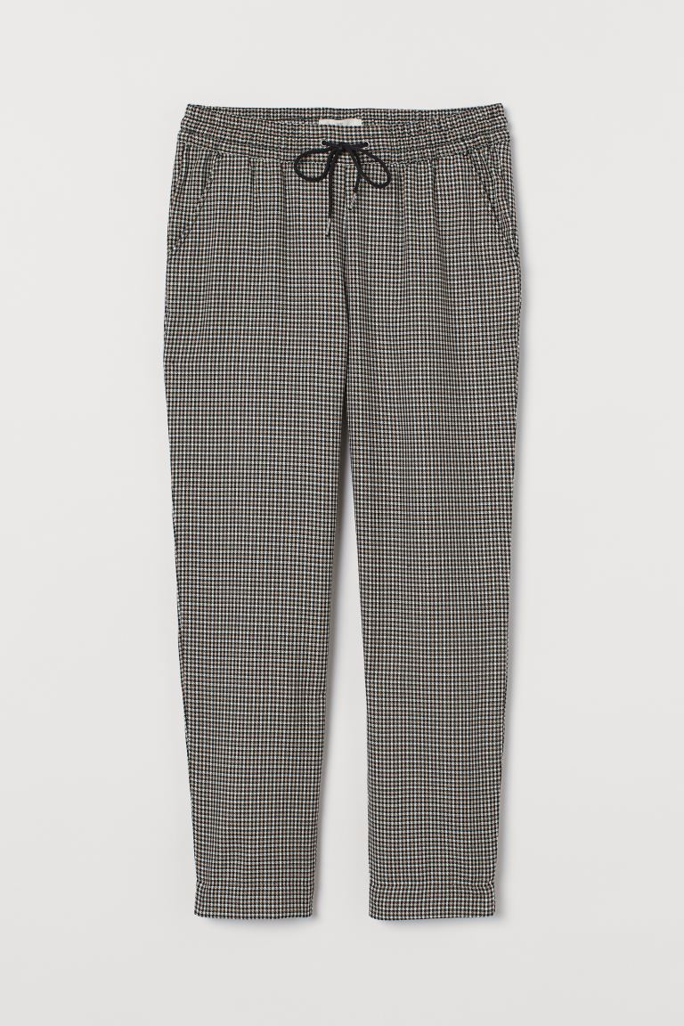 Pull-on trousers - Beige/Dogtooth-patterned -  | H&M GB