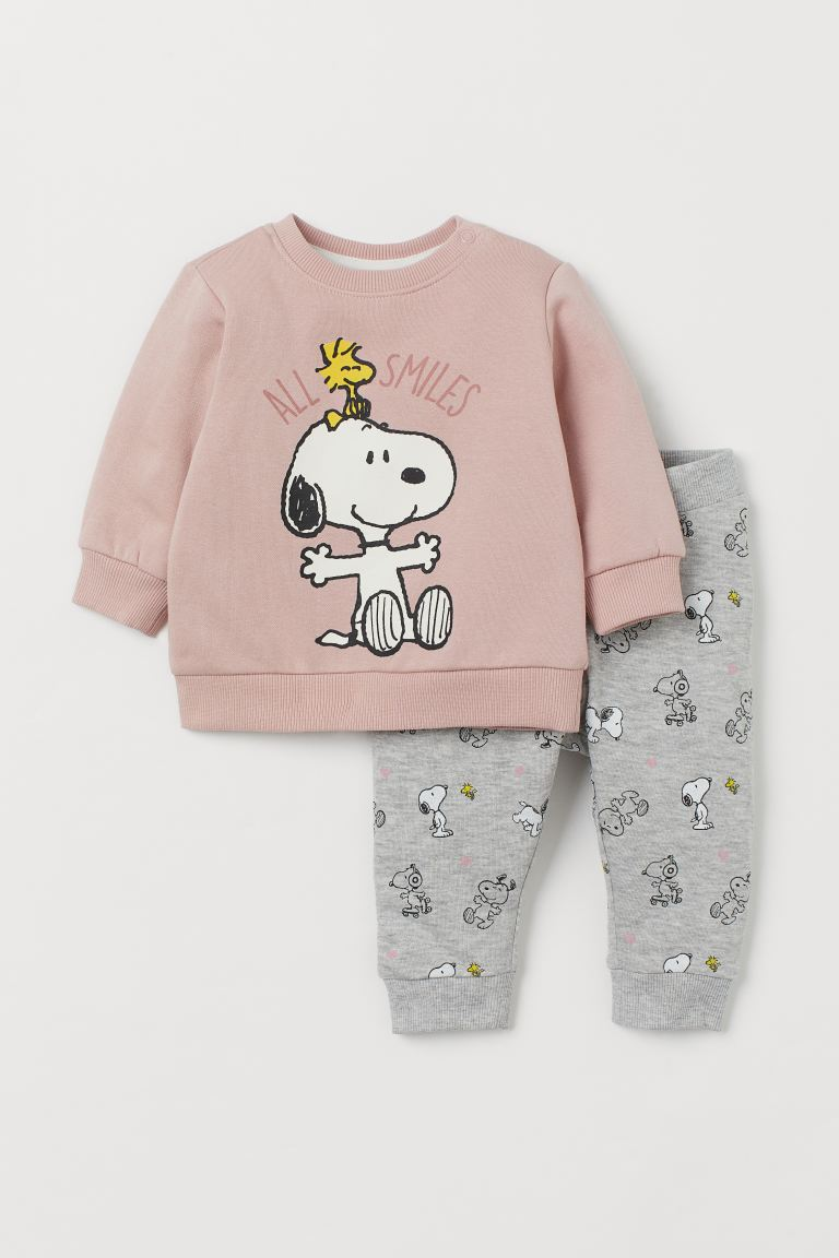 2-piece Sweatshirt Set - Light pink/Snoopy - Kids | H&M US