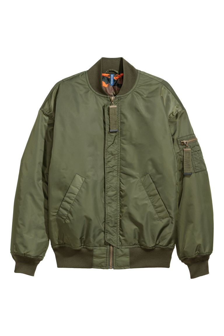 Oversized bomber jacket - Dark green - Men | H&M GB