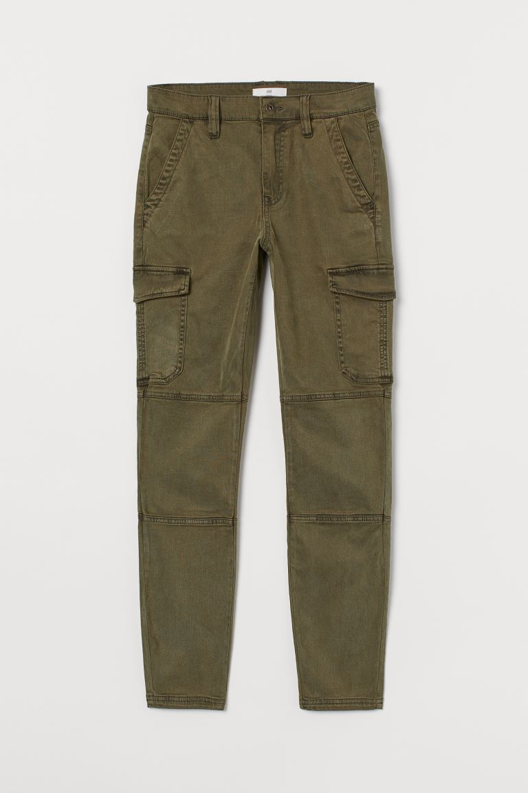 Slim Fit Cargo trousers - Khaki green - Ladies | H&M