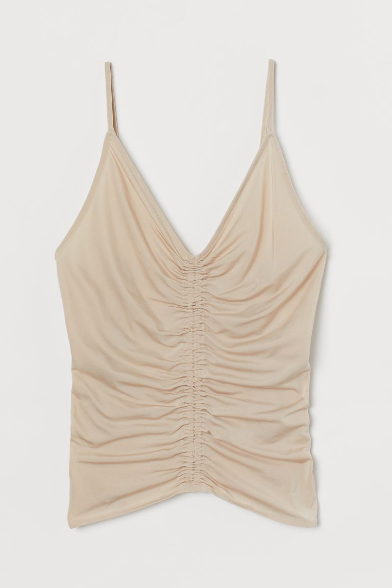 Draped strappy top - Light beige - Ladies | H&M IE