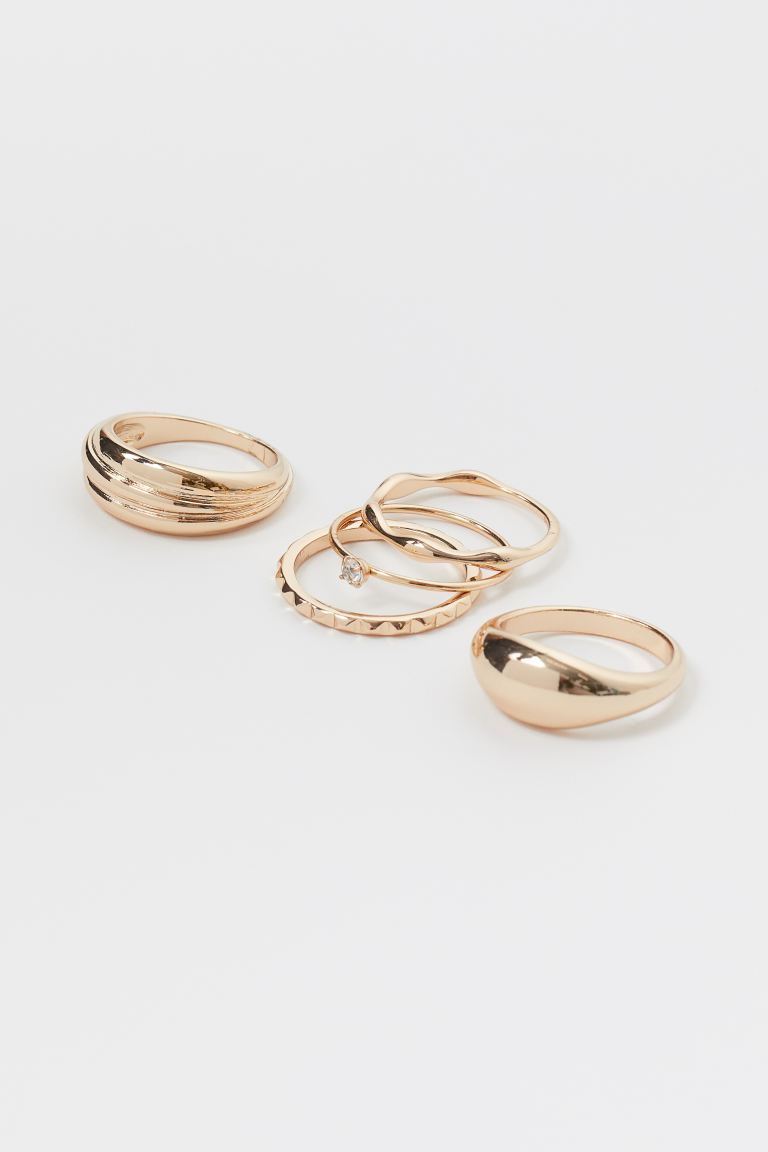 5-pack rings - Gold-coloured - Ladies | H&M IN