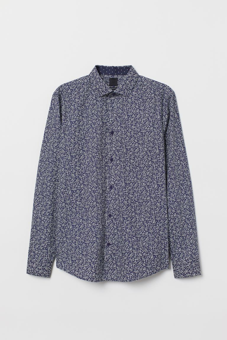 Premium cotton shirt - Dark blue/Patterned - Men | H&M IN