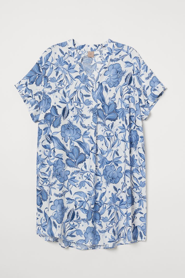H&M+ V-neck dress - Natural white/Blue floral - Ladies | H&M GB