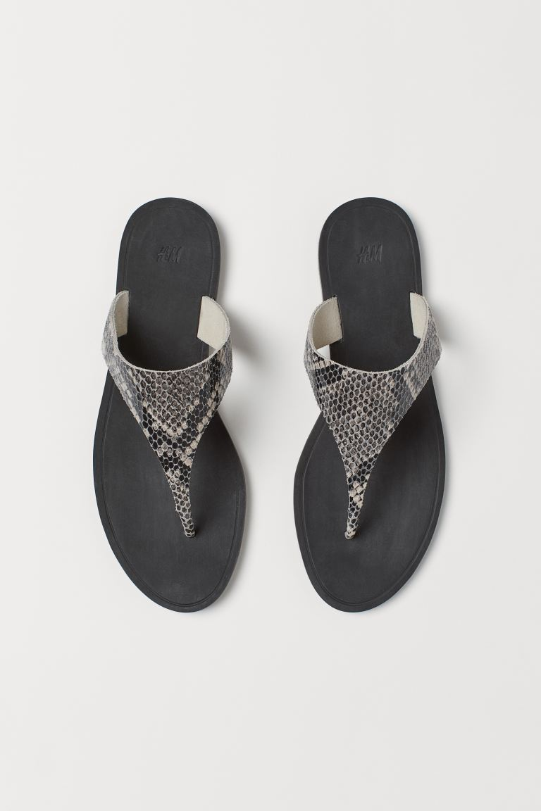Leather sandals - Grey/Snakeskin-patterned - Ladies | H&M