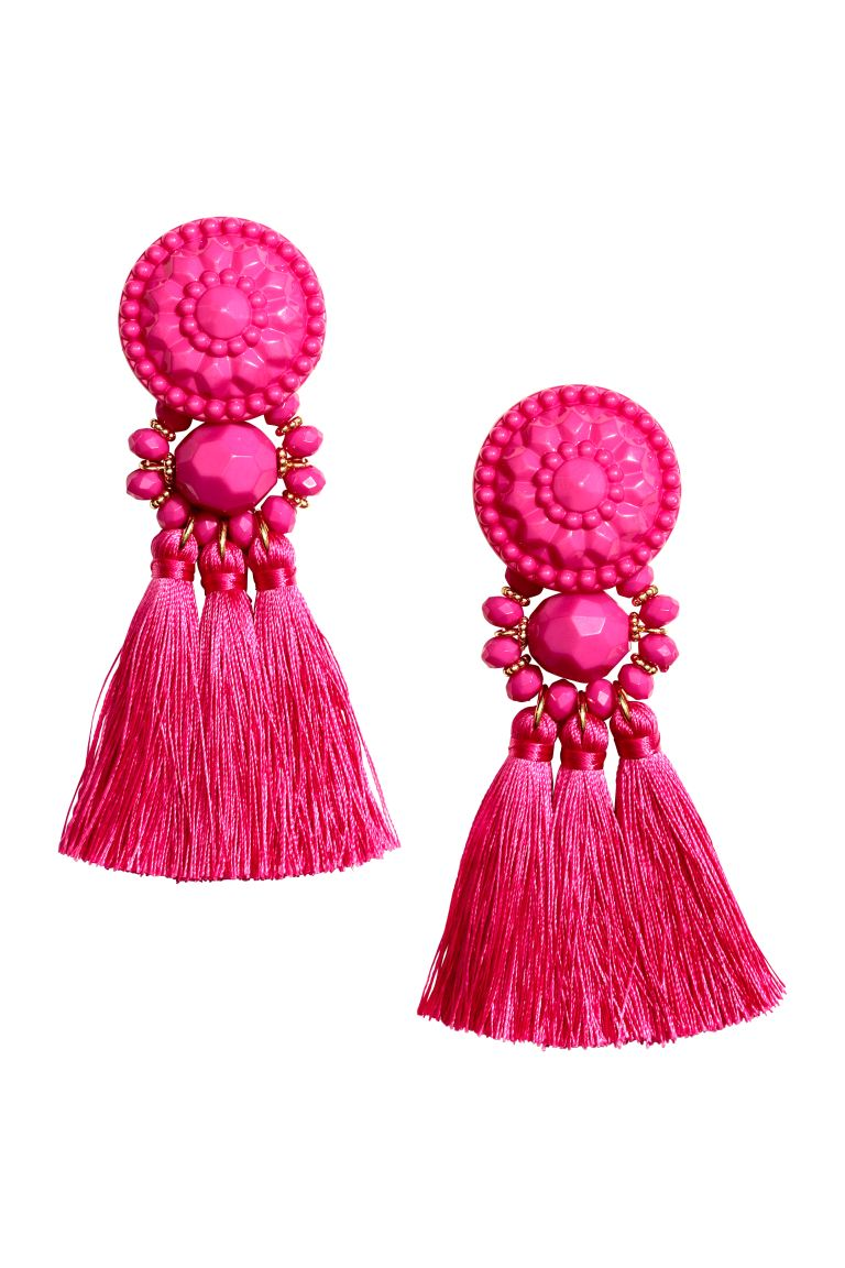 Earrings with tassels - Pink - Ladies | H&M GB