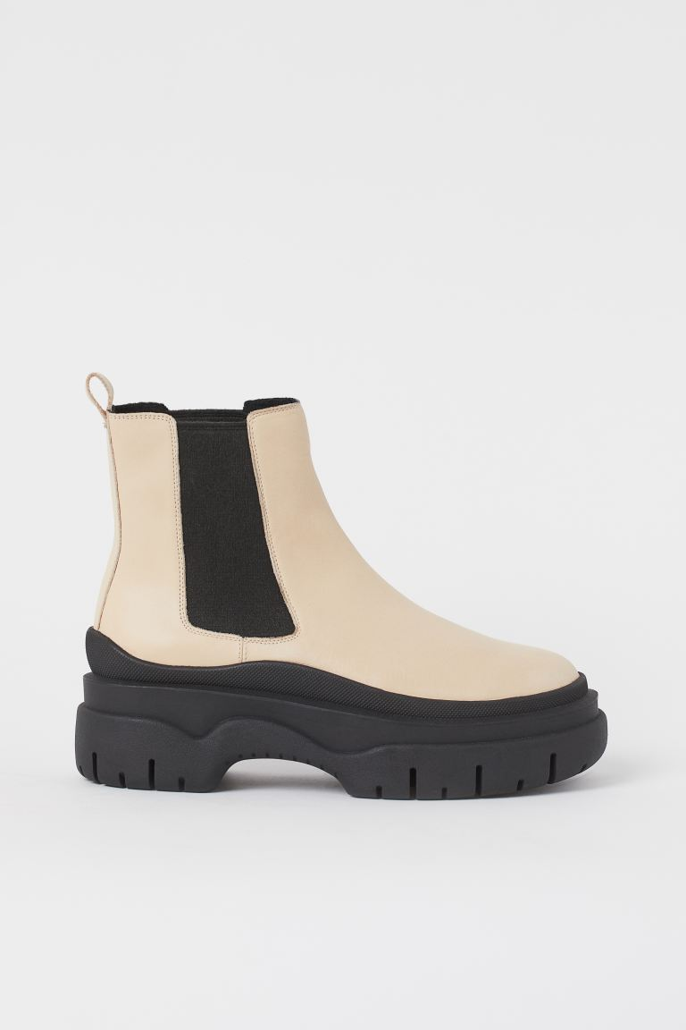 Leather Ankle Boots - Light beige - Ladies | H&M US