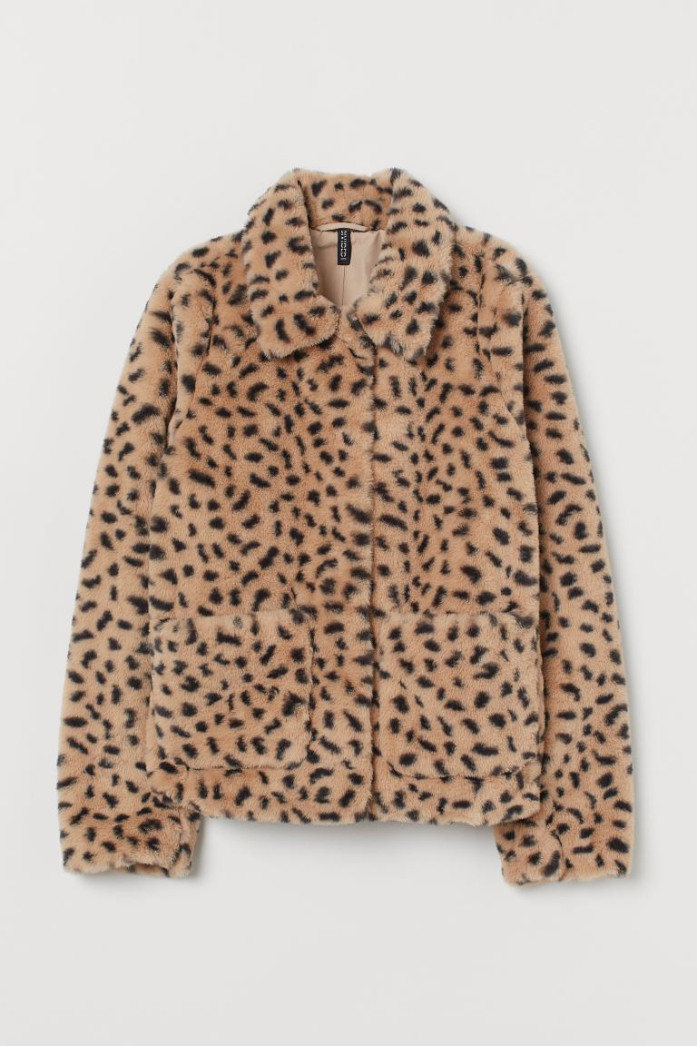 Faux Fur Jacket - Light beige/cheetah print - Ladies | H&M US