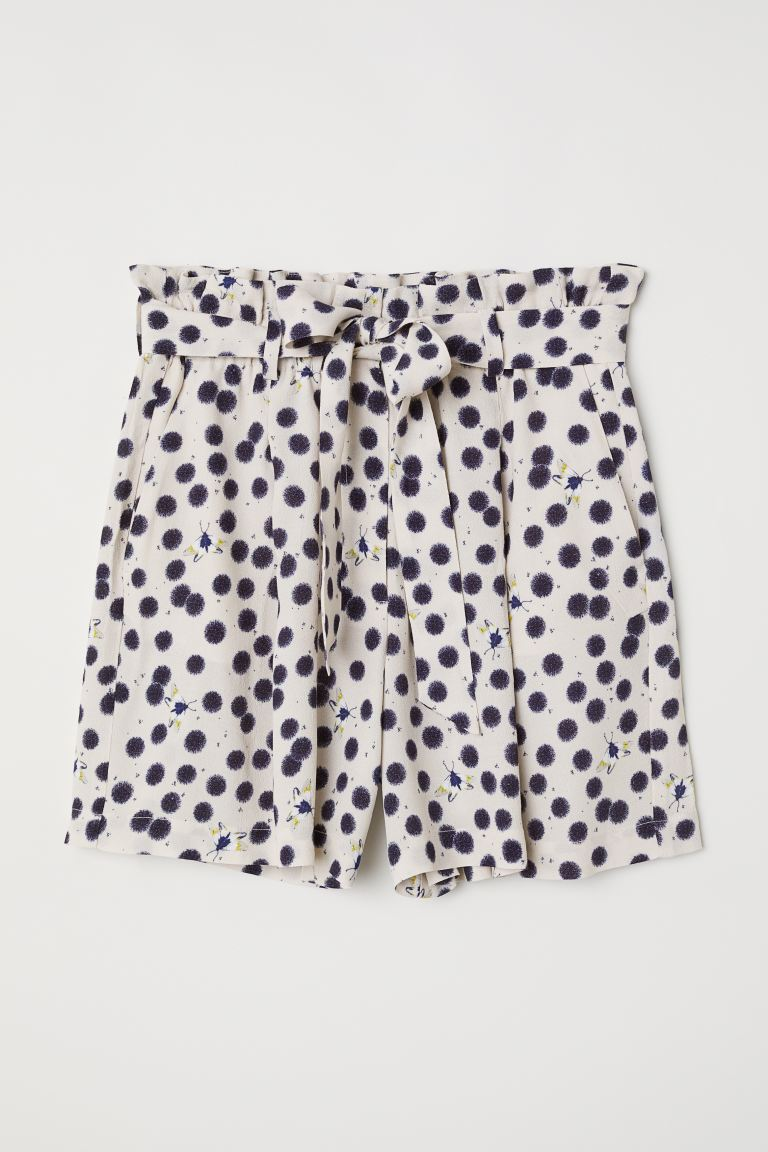 Paper bag shorts - Cream/Patterned - Ladies | H&M IE
