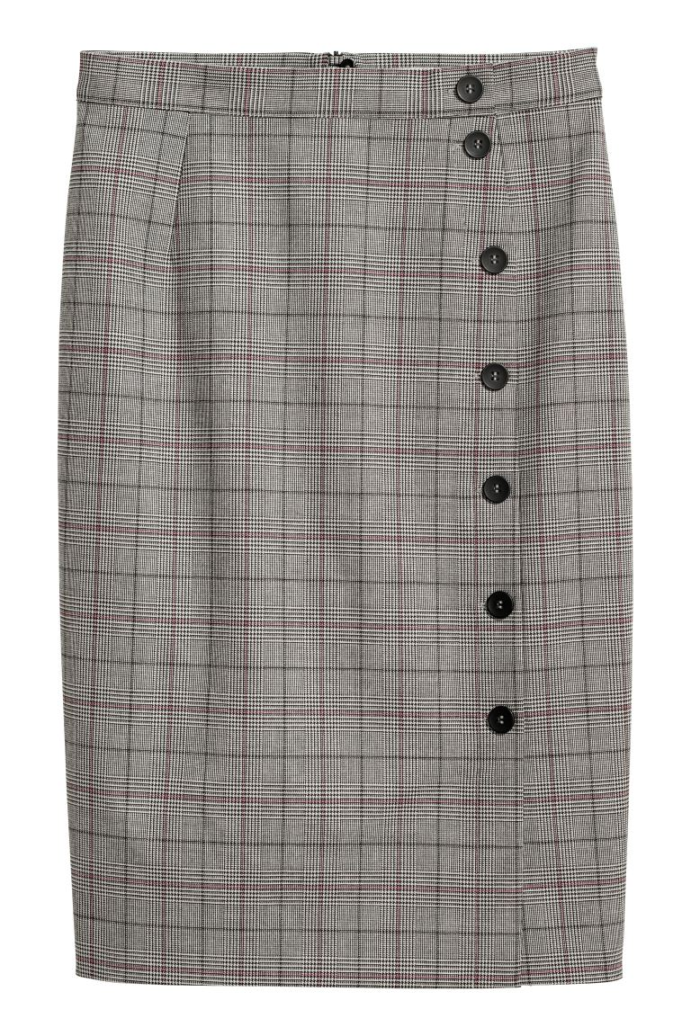 Knee-length skirt - Beige/Checked - Ladies | H&M IE