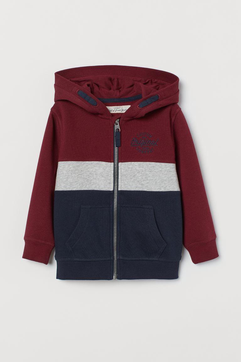 Block-coloured hooded jacket