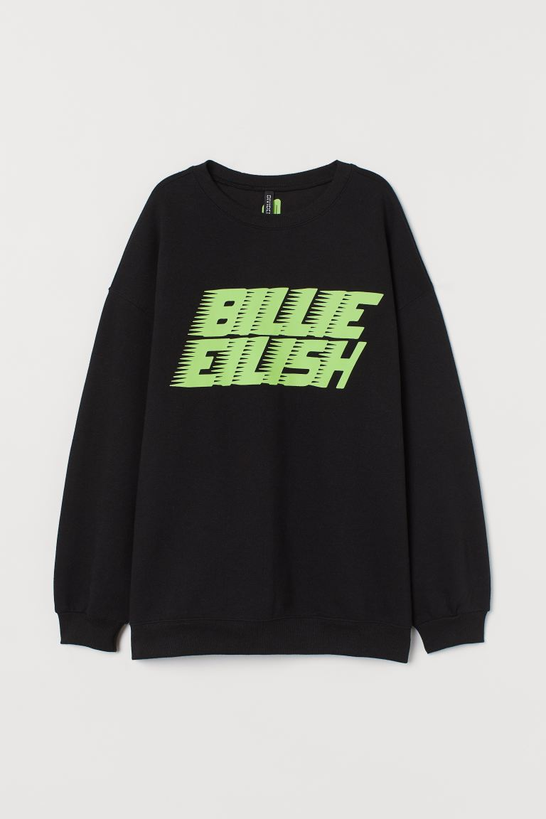 Printed Sweatshirt Black Billie Eilish Ladies H M