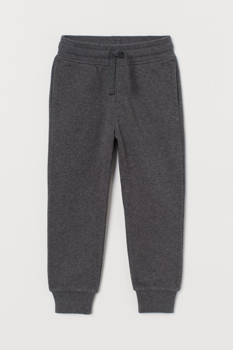 Cotton-blend joggers - Dark grey marl - Kids | H&M