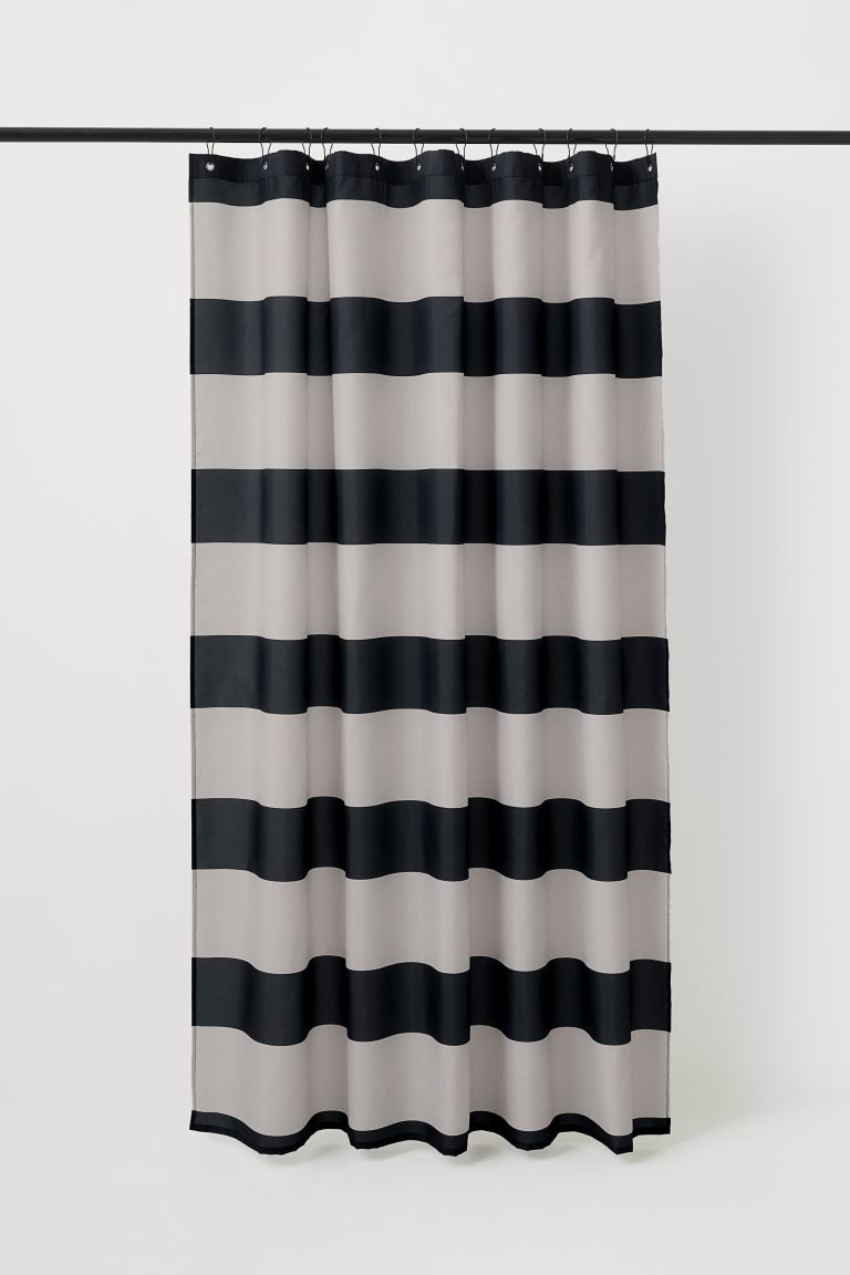 Wide-striped Shower Curtain - Black/beige - Home All | H&M US