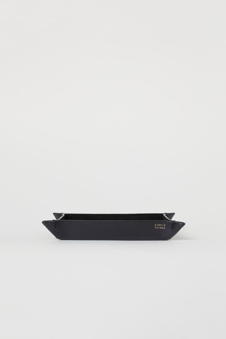 Rectangular Leather Tray - Black - Home All | H&M US