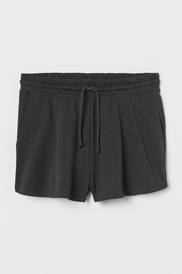 Sweatshirt shorts High Waist - Dark grey marl - Ladies | H&M