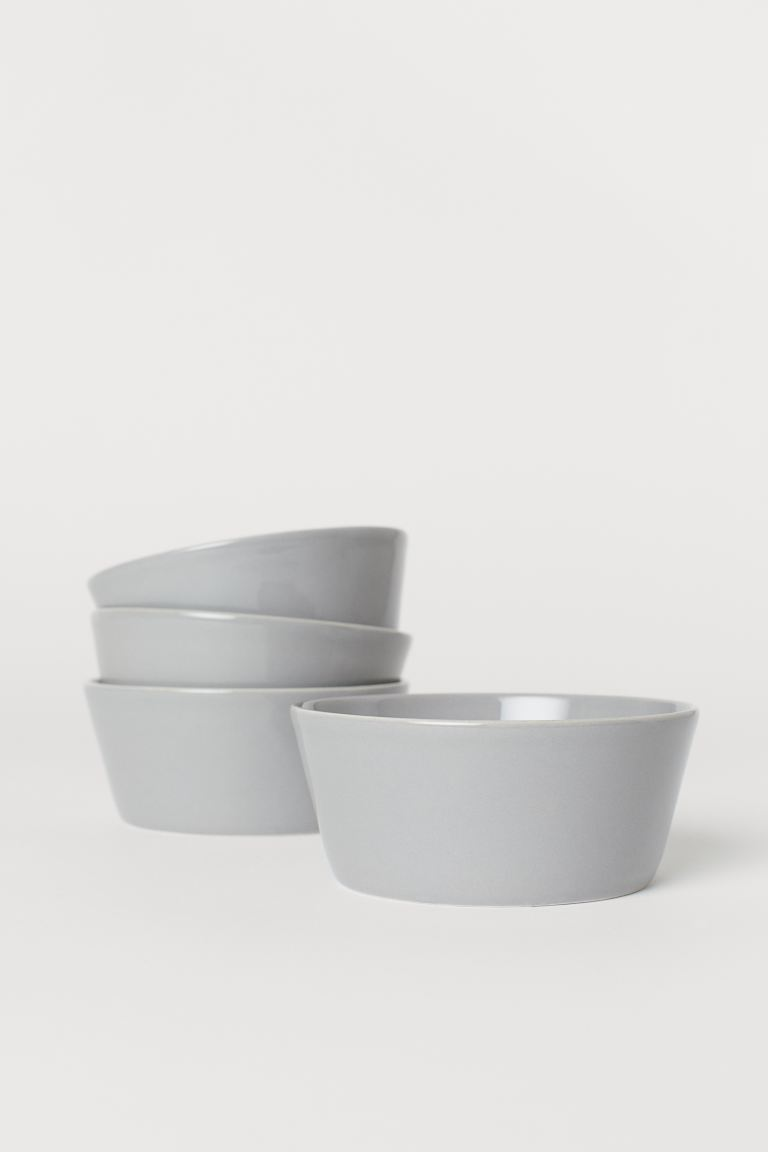 4-pack Ceramic Bowls - Light gray - Home All | H&M US