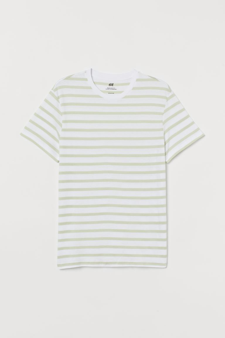 Regular Fit Crew-neck T-shirt - Pistachio green/white striped - Men | H&M US