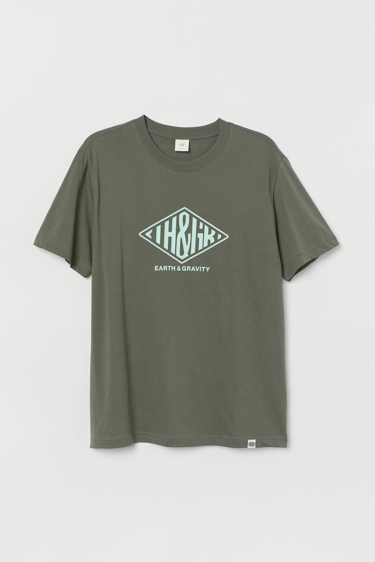 Printed T-shirt - Khaki green/Earth - Men | H&M IN