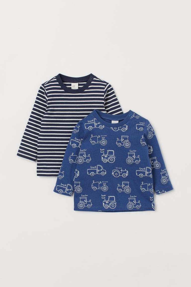 2-pack Jersey Shirts - Blue/tractors - Kids | H&M US