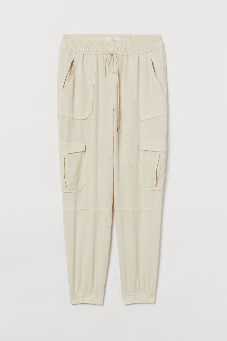 Lyocell utility joggers - Cream - Ladies | H&M
