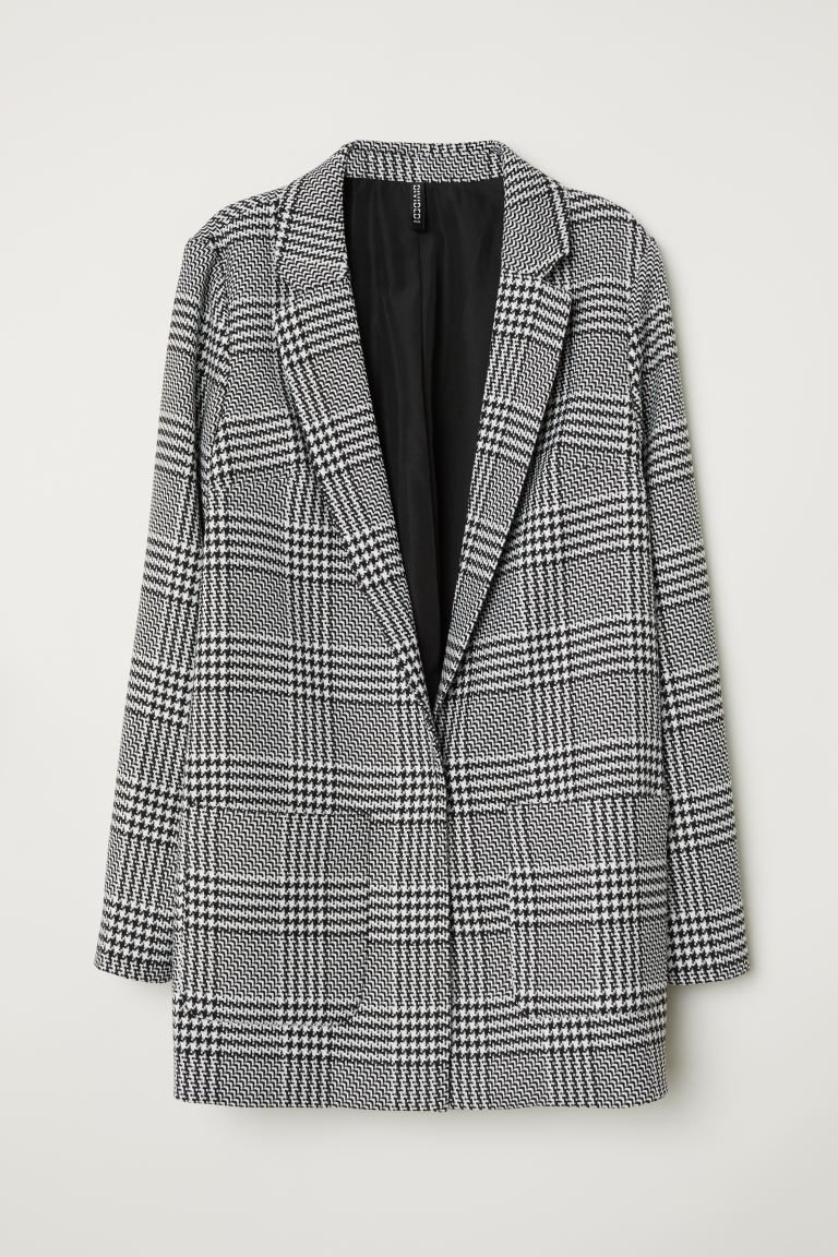 Pattern-weave jacket - Black/White patterned - Ladies | H&M GB