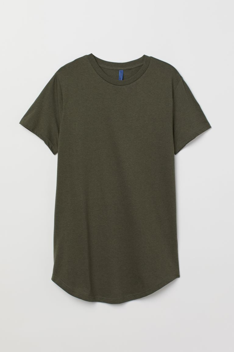 T-shirt Long Fit - Dark green marl - Men | H&M
