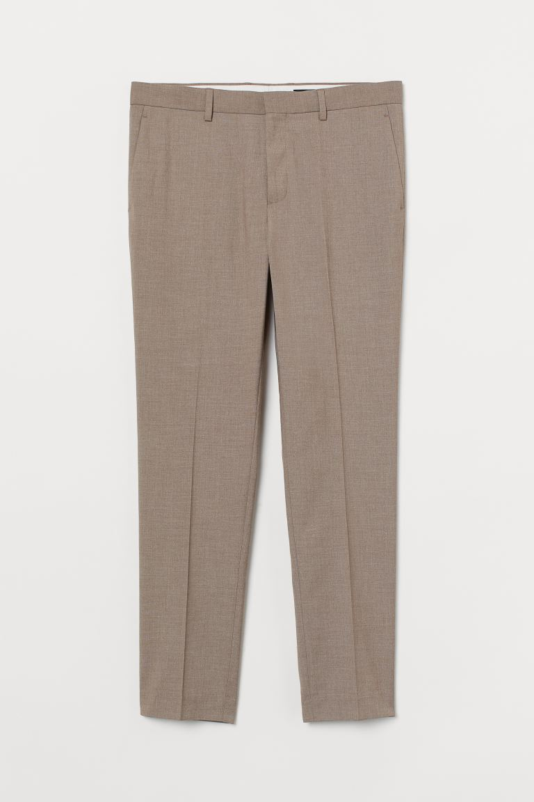 Skinny Fit Suit Pants - Beige melange - Men | H&M US