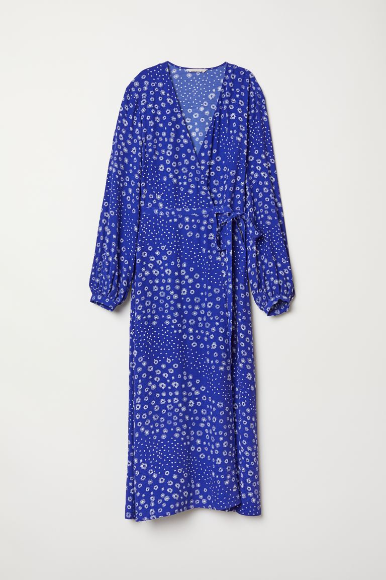 Patterned Wrap-front Dress - Cornflower blue/floral - Ladies | H&M US