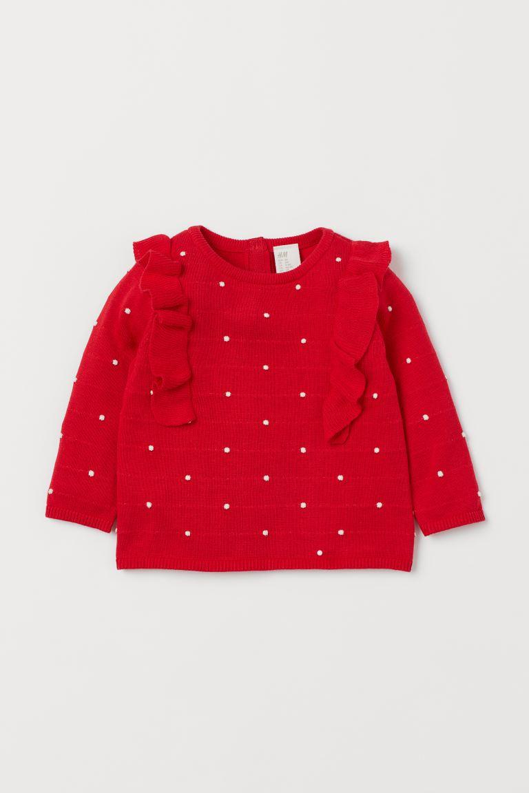Fine-knit flounced jumper