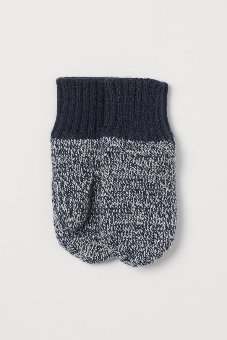 Knitted mittens - Navy blue marl - Kids | H&M GB