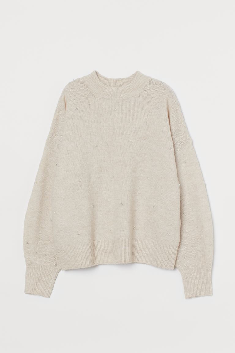 Studded Sweater - Light beige melange - Ladies | H&M CA