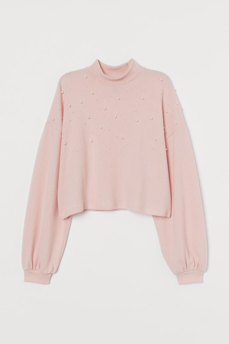 Beaded Sweater - Light pink - Ladies | H&M US