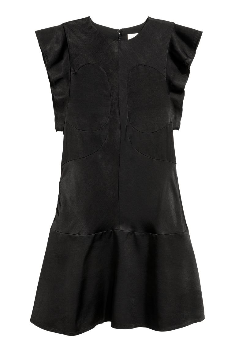Frill-sleeved dress - Black - Ladies | H&M IE