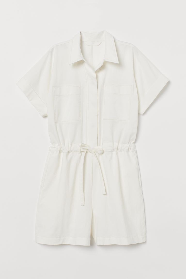 Cotton Romper - White - Ladies | H&M US