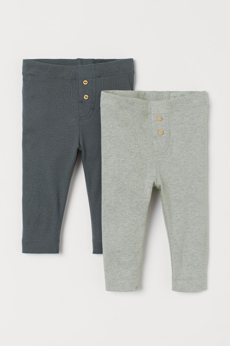 2-pack leggings - Mörkgrön - BARN | H&M SE