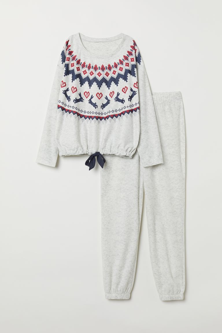 Fleece pyjamas - Light grey marl - Ladies | H&M GB