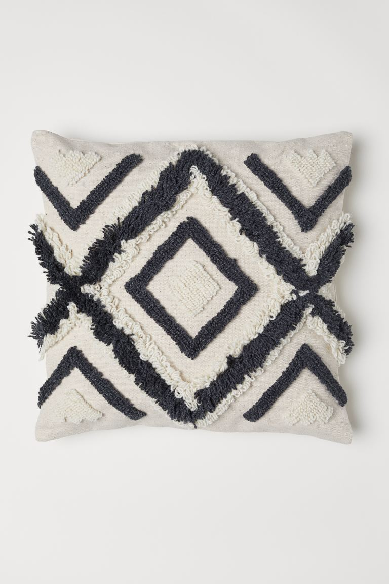 Wool-embroidered cushion cover - Light beige - Home All | H&M GB