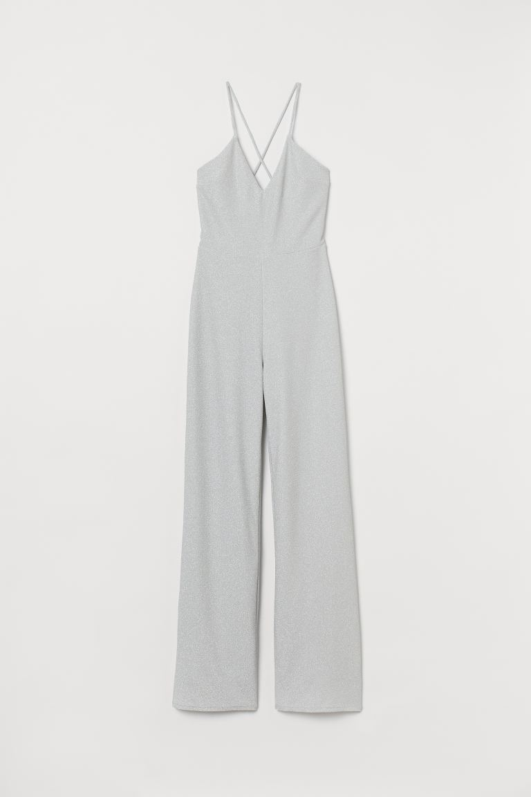 Glittery jumpsuit - Silver-coloured - Ladies | H&M GB