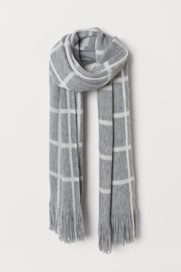 Scarf with Fringe - Gray/white checked - Ladies | H&M US