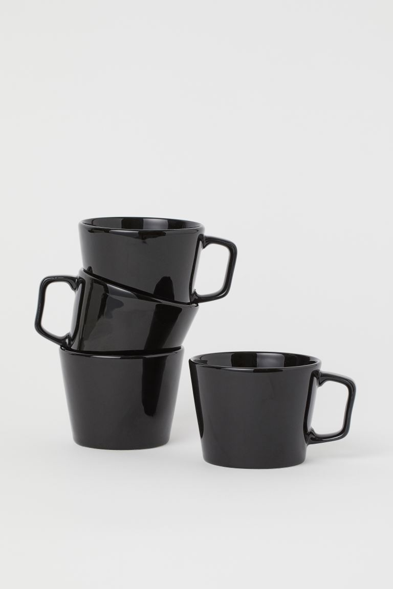 4-pack mugg i keramik - Svart - Home All | H&M FI