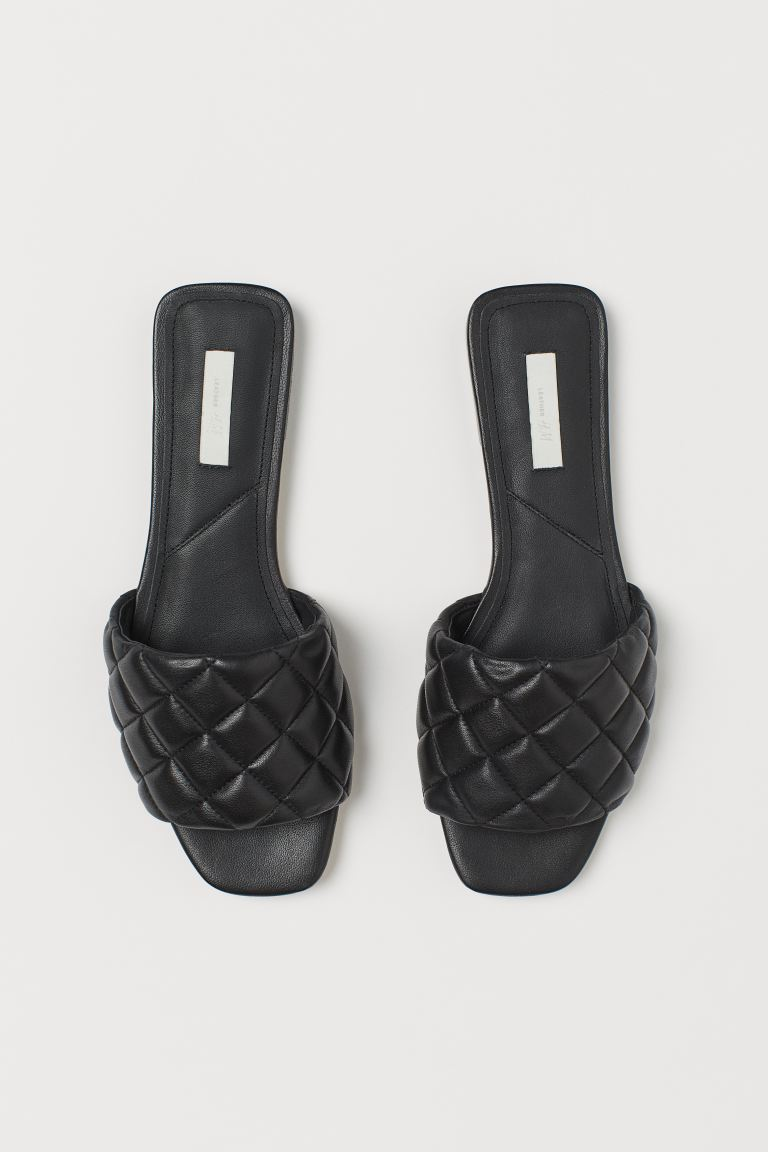 Leather Slides - Black -  | H&M US