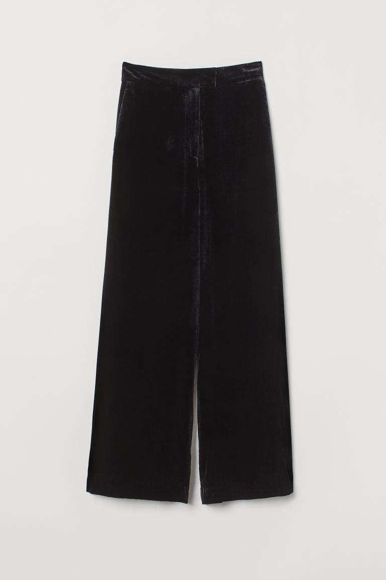 Velour trousers - Black - Ladies | H&M GB
