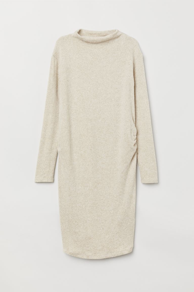 MAMA Fine-knit dress - Light beige marl - Ladies | H&M GB